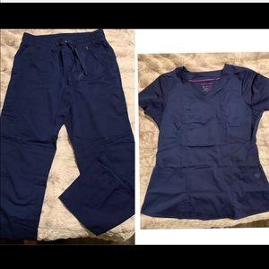 Healing hands navy scrub set